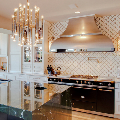 custom kitchen design with decorative wall