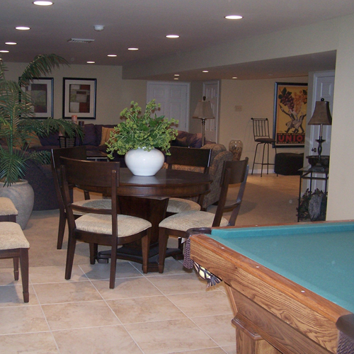 basement with living area and pool table